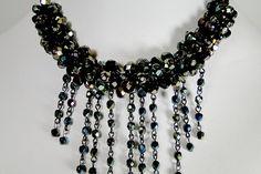 "Elegant Green Iris Fire Polish - Silver Lobster Clasp - 18"" 1/2 long Necklace"