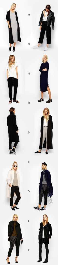 'Monodrobe' looks by ASOS. Love this capsule feel / theme.