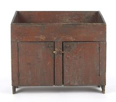 Early red painted dry sink. google.com