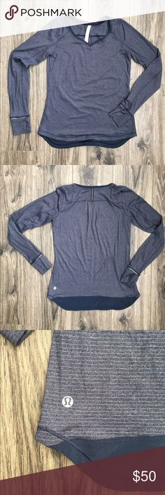 Lulu Lemon Long Sleeve Silver Lining Shirt Blue and silver small stripes. Wicking material. Thumb holes. lululemon athletica Tops Tees - Long Sleeve