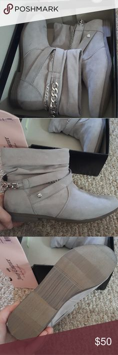 NIB Juicy Couture booties Brand new, never worn, in box Juicy booties! Faux suede with silver chain. Beautiful, just not for me. Juicy Couture Shoes Ankle Boots & Booties