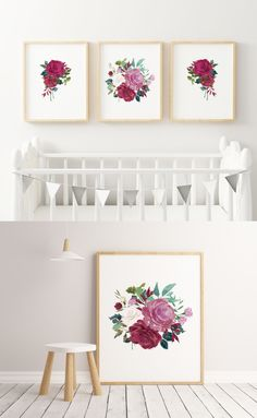 Watercolor Flowers Girl's Nursery Wall Art Watercolor Spring PRINTABLE SET - Nursery Decor, Room Decor, Nursery