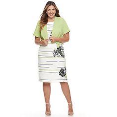 Plus Size Maya Brooke Floral Scroll Dress & Jacket Set | Jackets ...