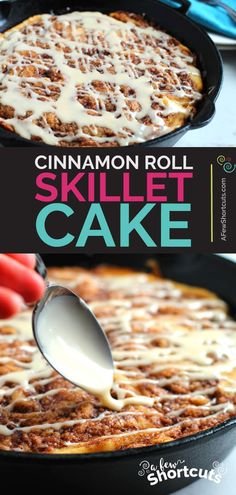 Use the versatility of a cast iron skillet to. Use the versatility of a cast iron skillet to make this incredible Cinnamon Roll Skillet Cake Recipe. Can be made gluten free too! Cast Iron Skillet Cooking, Iron Skillet Recipes, Cast Iron Recipes, Cooking With Cast Iron, Skillet Dinners, Pavlova, Sin Gluten, Gluten Free, Skillet Cake