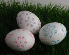 Easter Eggs Polish Pysanky Eggs in Natural White by EggstrArt