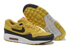 2013 Mens Nike Air Max 1 Canyon Gold Sail University Red Black Shoes The  Most Flexible Running Shoes e6f89b5dd