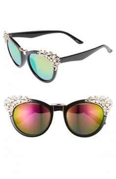 401ea3bf542 Leith+Women s+53mm+Crystal+Embellished+Cat+Eye+Sunglasses Cat