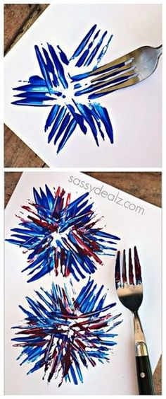 Fireworks Craft using a fork! Great for a kids 4th of July craft or memorial day art project!