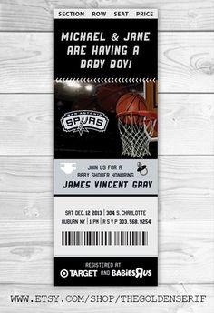 spurs basketball invite, LA Lakers baby shower, Oklahoma thunder invitation, miami heat invitation, nba invitation, nba baby shower invitation