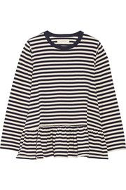 The Baggy ruffled striped cotton-jersey top