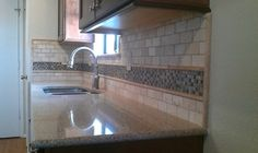 Kitchen Backsplash - Travertine Sub-Way / Liner and Glass Mosaic - contemporary - kitchen - austin - Custom Surface Solutions