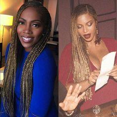 Tiwa Savage & Beyonce Rocking Long Blonde Braids - Potrix Blog #CornrowsLong