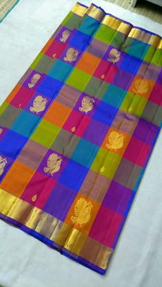 Kanchipuram pure silk sarees( hand woven)with multicolour cheked Order what's app 7093235052 Indian Bridal Sarees, Bridal Silk Saree, Indian Beauty Saree, Saree Wedding, Blue Silk Saree, Soft Silk Sarees, Silk Sarees With Price, Silk Sarees Online, Saree Jewellery