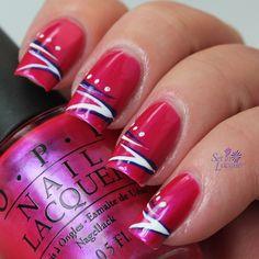 Strips and dot nail art.