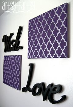 How to paint/stencil pattern onto canvas. By artsy-fartsy mama: Quatrefoil Canvas.