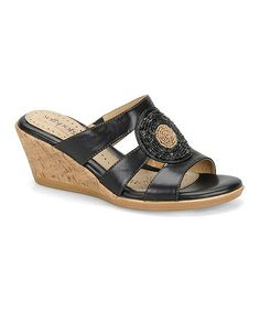 Another great find on #zulily! Black Laurie Leather Wedge #zulilyfinds