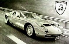 Lamborghini Miura  graphite drawing
