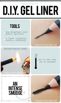DIY Regular Eyeliner to Gel Eyeliner Trick from The Beauty Department here. Photos Amy Nadine, graphic design by Eunice Chun. *As TBD writes:    It's super simple and easy, but if you're a minor please get adult supervision.