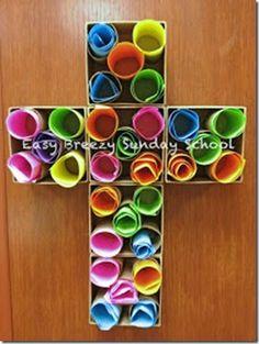 Easy Breezy Sunday School: Prayer Cross - create a prayer wall Sunday School Activities, Bible Activities, Church Activities, Sunday School Crafts, Sunday School Classroom, Palm Sunday Craft, Palm Sunday Lesson, Classroom Prayer, Sunday School Kids