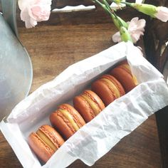 Amazing french macarons with salted caramel filling. So tasty! See recipe: chefoftaste.com