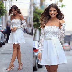 {All white ✨ @talguistore } Saia plissada + blusa de renda ombro a ombro ❤️