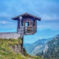 A watch spot on Mount Tegelberg. Mount Tegelberg is located near Schwangau in Bavaria, Germany. You can use a cable car to get to the top and there you can easily walk in any direction to enjoy the fantastic view and breath the fresh mountain air.