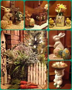 My Spring/Easter decor includes bunnies, chicks, eggs, cross, flowers & more.