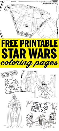Tons of easy Star Wars coloring pages! Free printables of your favorite characters like Kylo Ren, Darth Vader, Princess Leia, Yoda, and more! Great for kids! via Britni @ Play Party Plan Coloring For Kids, Printable Coloring Pages, Coloring Pages For Kids, Coloring Sheets, Colouring, Star Wars Birthday, Star Wars Party, Printable Star Wars, Star Wars Coloring Book