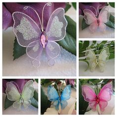 Lavender, Pink, Light Yellow, Pale Green, Turquoise and Fuchsia Nylon Butterflies for Party Favors, 2 inches, 30 pcs, Choice of Colors