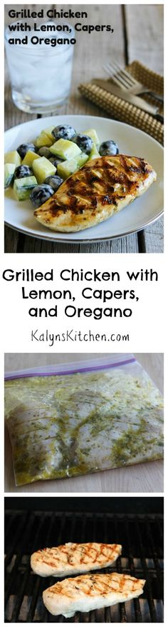 Grilled Chicken with Lemon, Capers, and Oregano is a grilling option that's perfect for any summer holiday party or any time you feel like cooking on the grill.   [from KalynsKitchen.com] #food #summer Foods Grilling Recipes #recipe