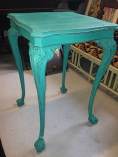 Antique Mahogany Ball and Claw Side Table  Professionaly Painted and Sealed With Annie Sloan Products