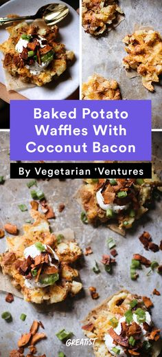 Baked Potato Waffles With Coconut Bacon; This vegetarian recipe is hearty, smoky, crunchy, salty, and sweet. Vegetarian Recipes Dinner, Vegan Recipes, Dinner Recipes, Cooking Recipes, Best Brunch Recipes, Potato Waffles, Coconut Bacon, Veggie Delight, Eat Healthy