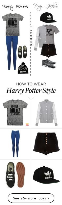 """Fandoms (harry potter & percy jackson)"" by dawnima on Polyvore featuring Miss Selfridge, Vans, Elizabeth and James, River Island, NIKE and adidas Originals"