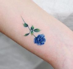 Colorful Rose Tattoos, Blue Flower Tattoos, Yellow Rose Tattoos, Blue Tattoo, Color Tattoo, Mommy Tattoos, Dainty Tattoos, Body Art Tattoos, Small Tattoos
