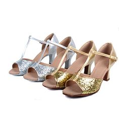 a67d54968 Women's Satin / Patent Leather Latin Shoes / Ballroom Shoes / Salsa Shoes  Sequin / Buckle High Heel / Sandal Customized Heel Customizable Silver /  Gold ...