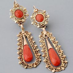 Antique Victorian Gold Filigree Faceted Coral Briolete Earrings