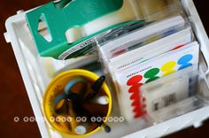 Prepare a moving kit with everything in one place: tape, sharpies, scissors, labels and colour-coding stickers
