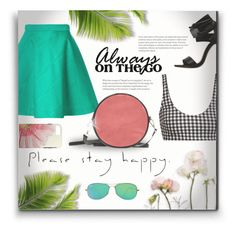 """""""Hello Spring - Fun & Flirty Outfit"""" by colormegirly ❤ liked on Polyvore featuring MSGM, Mara Hoffman, Ray-Ban, Spring, handbags and polyvoreset"""