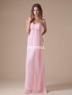 #robe #demoisellehonneur Robe de soirée A-ligne rose en chiffon cache-coeur longueur plancher
