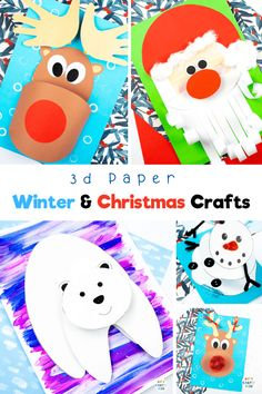 Looking for easy winter crafts for kids and easy Christmas crafts for kids to make at home or at school? Explore our collection of fun and interactive 3D Paper Crafts for kids; featuring paper crafts From Spring to Halloween to Christmas; from land animals to sea animals to bugs, we have a 3D paper craft to keep your children busy all year round. Get printable crafts templates for these winter paper crafts for kids here! Christmas Paper Crafts for Kids Ideas| 3D Crafts for Kids #WinterCrafts Preschool Christmas Crafts, Christmas Crafts For Kids To Make, Animal Crafts For Kids, Christmas Paper Crafts, Halloween Crafts For Kids, Paper Crafts For Kids, Giraffe Crafts, Panda Craft, Thing 1