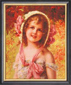 The Cherry Bonnet By Emile Vernon Counted Cross by Ankicoleman, $8.99