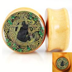 Find More Body Jewelry Information about 2pcs/Lot Wicca Pentagram Black Cat Logo Pair of Nature Wood Ear Plugs Fit Ear Gauges Flesh Tunnels 8MM 25MM 2G 1'' DF9619,High Quality plug jewelry,China plug travel Suppliers, Cheap plug male from DreamFire Store on Aliexpress.com