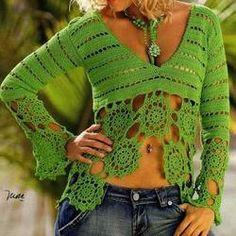 Green crochet summer women crochet blouse - MADE TO ORDER - AsDidy fashion