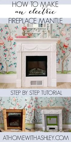 diy electric fireplace mantle surround. How to build a mantel for electric insert. A makeover with before and after pictures. This cover has tile is cheap and looks super classic