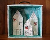 Items similar to SALE - Retablo Folk Art Shadow Box - Proceeds Benefits Animal Rescue, OOAK Nicho, Heart Home Shadow Box, Moon & Stars Diorama, Little Houses on Etsy Shadow Box Art, Collage Techniques, Kitsch, Paper Crafts For Kids, Assemblage Art, Mexican Folk Art, Little Boxes, Altered Art, Altered Tins