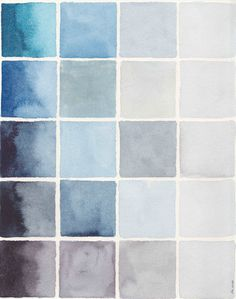 Original Abstract Watercolor Painting . Blue Gray Colorblock Painting . Storm…