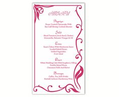 Wedding Menu Template DIY Menu Card Template Editable Text Word File Instant Download Fuchsia Hot Pink Menu Card Printable Menu 4x7inch by TheDesignsEnchanted on Etsy