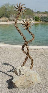 yard art from junk metal | yard art