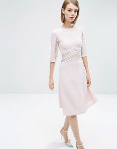 ASOS LACE INSERT MIDI SKATER DRESS, fashion, clothing, clothes, style