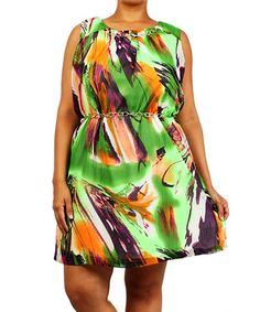Another great find on #zulily! Green & Orange Chain Link-Belted Dress - Plus #zulilyfinds